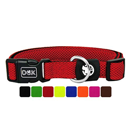 DDOXX Hundehalsband Air Mesh, verstellbar, gepolstert | viele Farben | für kleine & große Hunde | Halsband Hund Katze Welpe | Hunde-Halsbänder | Katzen-Halsband Welpen-Halsband klein | Rot, M