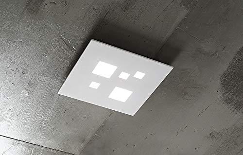 PERENZ Lampada da soffitto con Luce LED 27W 1944Lm 3000K Plafoniera quadrata in Metallo Bianco e Acrilico Misura LxHxP 30x3,5x30 cm