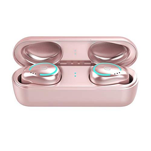 N / A Drahtlose Kopfhörer Bluetooth 5.0 In-Ear-Stereo-Bass Earbuds Sports Headset mit Microphonr Ergonomischer Freisprecheinrichtung telefonieren (Color : Rose Gold)