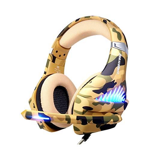 Gaming-Headset für PS4, Xbox One, PC, Laptop, Handy, Stereo-Surround-Gaming-Kopfhörer mit Mikrofon, Geräuschunterdrückung, LED-Lichter, Lautstärkeregler, 3,5-mm-Klinkenstecker, Camo