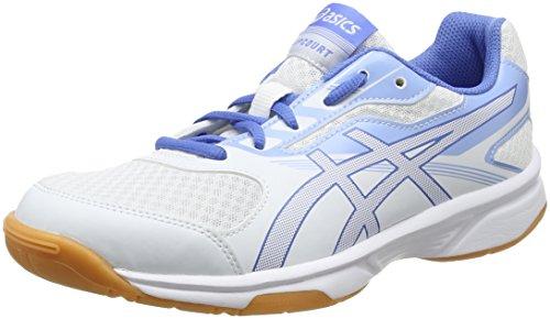 Asics Upcourt 2, Zapatillas de Deporte Interior para Mujer, Blanco (White/Regatta Blue/Airly Blue 0140), 37.5 EU
