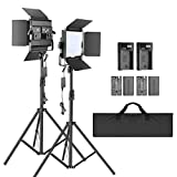Neewer 2-Pack 2.4G LED Video Light with 2M Stand Bi-color 200 SMD CRI 94+/U-Bracket/Barndoor/LCD Display/Video Lighting Kit for Studio Photography, Remote/Battery/Charger/Case Included