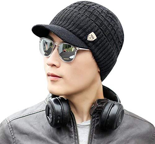 Saisiyiky gorros de lana hombre invierno sombreros hombre invierno de punto de invierno gorro de esquí (Negro)