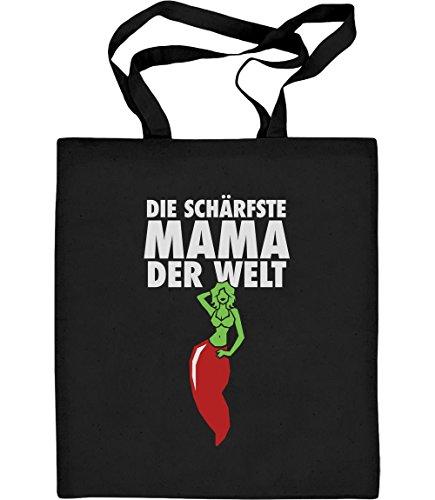Shirtgeil Die Schärfste Mama der Welt - Geschenkidee für Mutter Jutebeutel Baumwolltasche One Size Schwarz