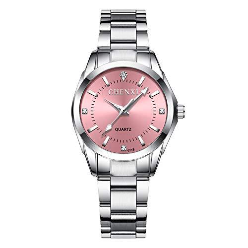 XLORDX - Reloj de Pulsera clásico para Mujer, de Acero Inoxidable, con Brillantes, analógico, de Cuarzo, Color Rosa