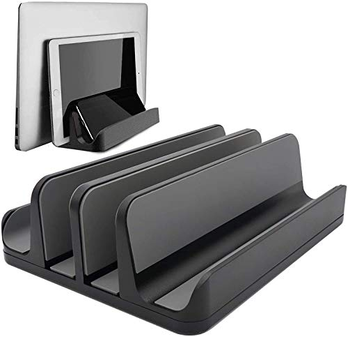 [Updated Dock Version] Vertical Laptop Stand, Geecol Double Desktop Stand Holder with Adjustable Dock (Up to 17.3 inch), Fits All MacBook/Surface/Samsung/HP/Dell/Chrome Book (Black)