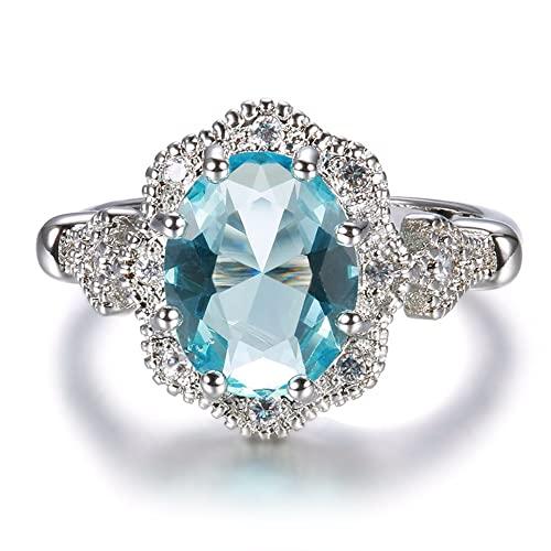 925 plata esterlina sólida topacio blanco aguamarina piedra preciosa anillo de compromiso de boda joyería fina 6 oro blanco azul