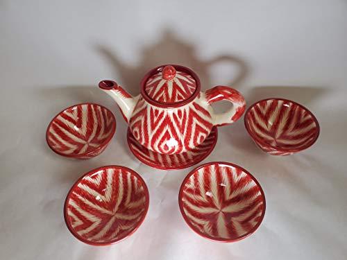 Red & White Handmade Uzbek Tea Set