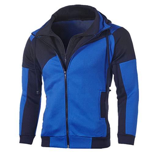 Hombres otoño e invierno color coincidencia casual Felpa delgada con capucha doble cremallera suéter de manga larga