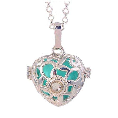 Pendentif Bijou de Grossesse Bola Plaqué Argent Coeur Bleu Cristal Diamant en son Centre et collier chaîne