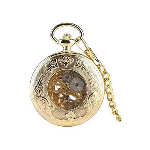XIXIDIAN Reloj de Bolsillo, diseño clásico de Acero Inoxidable de Acero Inoxidable Cuarzo de Bolsillo, Esqueleto Mecánico Doble Estuche Mano-Viento Números Romanos Cadena Antigua Hombres