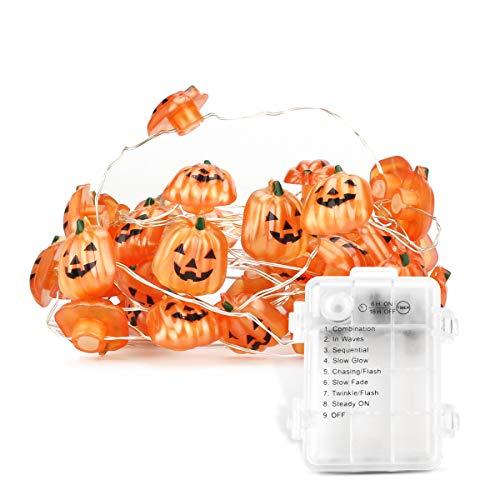 yidenguk Kürbis Lichterkette, 3m 40 LED Halloween Kürbis Lichter Batteriebetrieben mit Dimmbarer Timer 8-Mode Kürbis Beleuchtung für Halloween Weihnachten Festival Party Dekoration