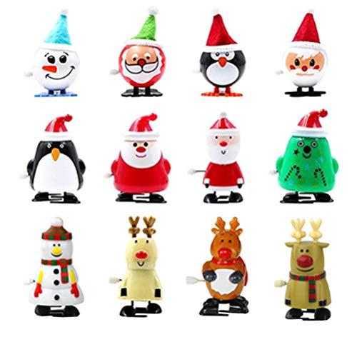 Toyvian 12 Stücke Aufziehspielzeug Rentier Pinguin Schneemann Weihnachtsmann Figur Aufziehfigur Weihnachten Deko Figuren Uhrwerk Spielzeug Geschenk für Baby Kinder(Zufälliger Stil)