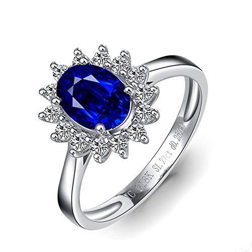 Anello Donna Con Pietra Fine Zaffiro 1.9ct Blu Diamante, 18K Oro Bianco Anello Donna Fidanzamento Dimensione 15