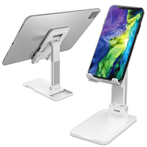 スマホ スタンド ホルダー角度と高さ調整可能なスタンド滑り止め折りたたみ式電話スタンド便利充電タブレットPCスタンドデスクトップスタンドアルミ合金素材iPhone/iPad/Android/Nintendo Switch Lite 機種に対応 (白)