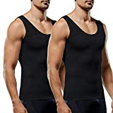 Men's Compression Shirt Slimming Body Shaper Vest to Hide Man Boobs Shapewear (Black&Black, Large)