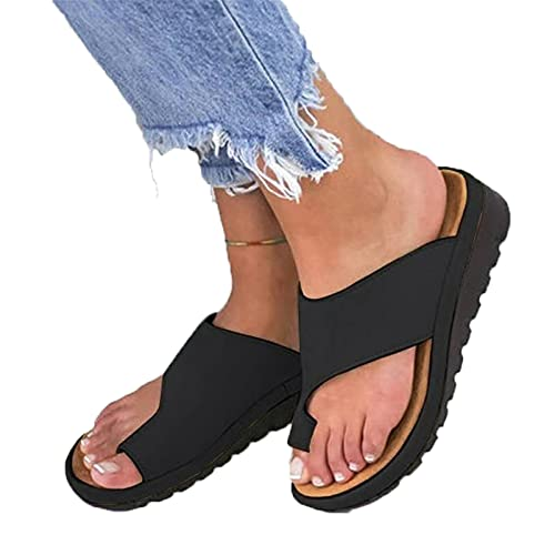 HUAJIE Ladies Sandals Wedges Slippers Bunion Correction Sandals Summer Leather Flip Flops Open Toe Breathable Casual Beach Travel Shoes,Black,41
