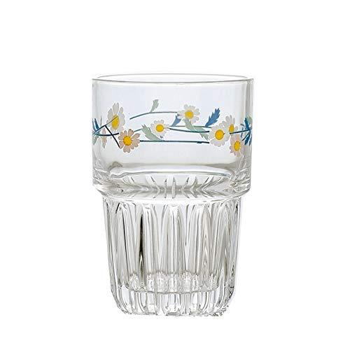 JSJJRFV Taza de Agua 258 / 350ml Pequeñas Margaritas Coreanas Imprimir Vidrio Taza Café de Cristal Creativo Taza de té Leche de lemonia Jugo de limón Taza de Bebida Hogar Webware Latte Latte