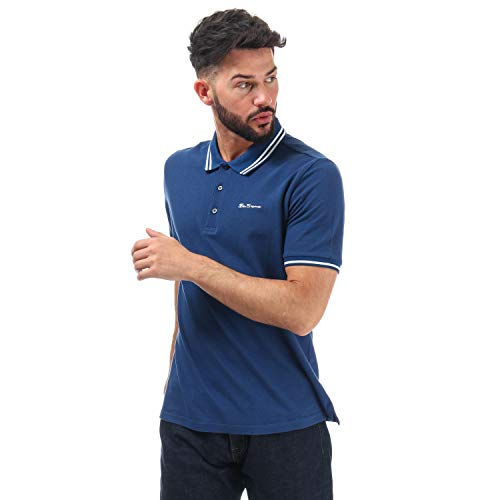 Ben Sherman Poloshirt für Herren mit Doppelspitze, kurzärmelig, gerippte Bündchen Gr. S, blau