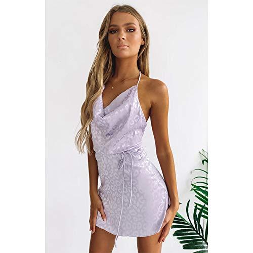 YSSDEH Kleider Sommerkleid Hals Minikleid Flieder Leopard Das Kleid Frau Kleid Robe Frauen Kleid Sommer Abendkleid