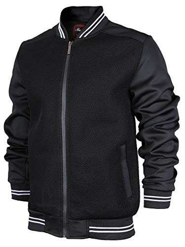 Maximos USA Men's Lightweight Mesh Zip Up Bomber Jacket (X-Large, BEE-2 Black White)