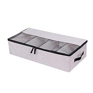 Ropa Zapatos Organizador Multifunción plegable debajo de la cama caja de almacenaje con a prueba de polvo tapa 4compartimento