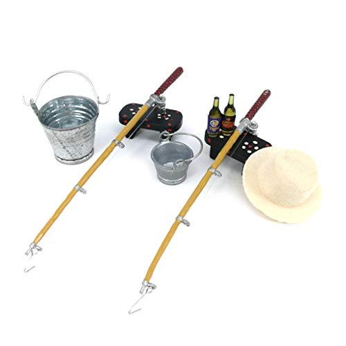 WOWOWO 1/12 casa de muñecas Miniatura caña de Pescar Sombrero Cubo Taburete Modelo muñeca Vida decoración