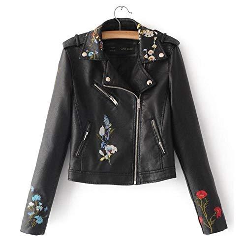 DANWJDP Frauen Lederjacke,Frühling Herbst Biker Jacket Women Black Mode Floral bestickte Bomber Faux Leder Jacke Motorrad Kurze Mäntel Basic Streetwear,M