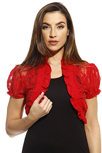 2502-RED-M Just Love Shrug / Shrugs / Women Cardigan,Red With Lace,Medium