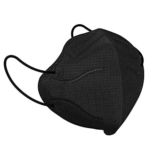 Wawech FFP2 Maske schwarz, 20 Stück Masken Mundschutz, Einwegmasken Atemschutzmaske Einweg Gesichtsmaske FFP22 Masken Mund Staubschutzmasken