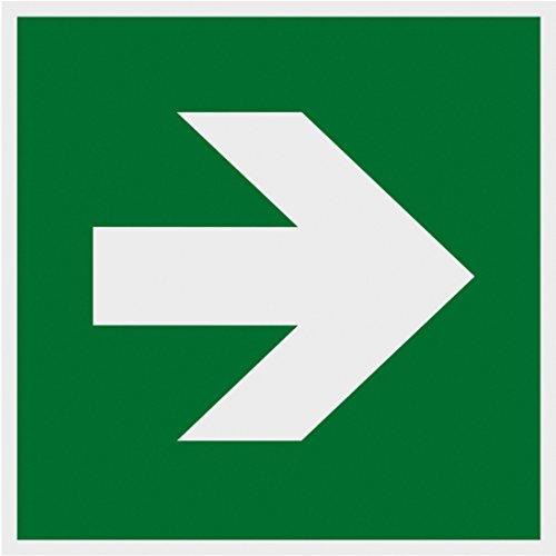 Metafranc Hinweisschild Symbol: Richtungspfeil gerade - 150 x 150 mm - nachleuchtend / Beschilderung / Rettungsweg / Fluchtweg / Notausgang / Sicherheitsmarkierung / Gewerbekennzeichnung / 503820