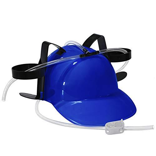 NiceButy Guzzler Potable Casco y Can Holder Bebedor del Casquillo del Sombrero de Paja de Cerveza y refrescos para la diversión de Halloween Partido de fútbol Juegos de Navidad (Azul) *