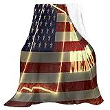 Oarencol Manta de bandera americana, diseño de mapa del estado de México, diseño vintage de franela suave de forro polar, mantas ligeras para cama, sofá, adultos y niños de 127 x 152 cm