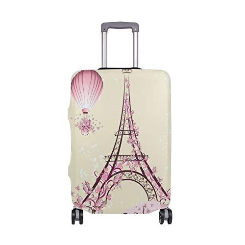 Pink Paris Eiffelturm Fahrrad Gepäckabdeckung Schutz Spandex Reise Koffer Gepäck Abdeckung für Erwachsene Damen Herren Teenager passt 45,7–50,8 cm