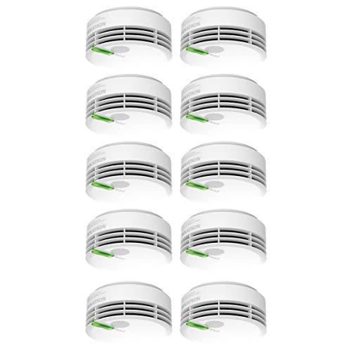 Hekatron 31-5000020-17-01 Rauchmelder Genius PLUS – 10 Jahre Lebensdauer der Batterie & mehrfarbig LED – Rauchwarnmelder in Weiß – 10er Set