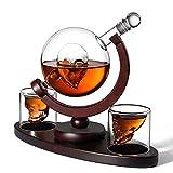 WUFENG Set de Jarra de Whisky Skull, con Base de Madera 2 Vasos de chupito de Calavera y bandejas de Cubitos de Hielo Dispensador de Licor para Licor Scotch Bourbon Vodka, Family, Office