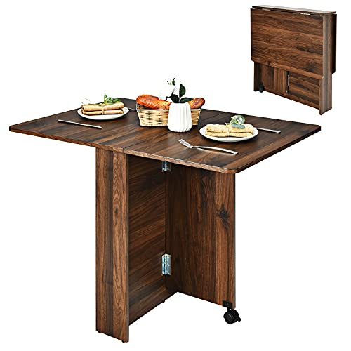 Giantex Folding Dining Table, Movable Kitchen Table with Extendable Drop-Leaf Tabletop, Versatile Table Desk for Small Spaces, Apartment, Multi-use Space Saving Table, Drop Leaf Table (Brown Walnut)