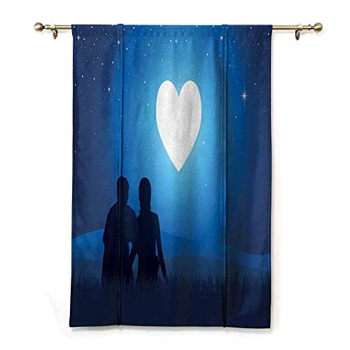 Home Curtain Silhouette of a Couple Sitting in Front of Heart Shaped Moon Night Out Thermal Insulated Drapery Drapes for Living Room (Rod Pocket Panel, Width 28' x Length 72')