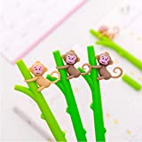PiniceCore 10pcs Monkey Gel Pens Novelty Stationery Cute Cartoon Gel Pen and Pencils Student Pen Kawaii School Supplies