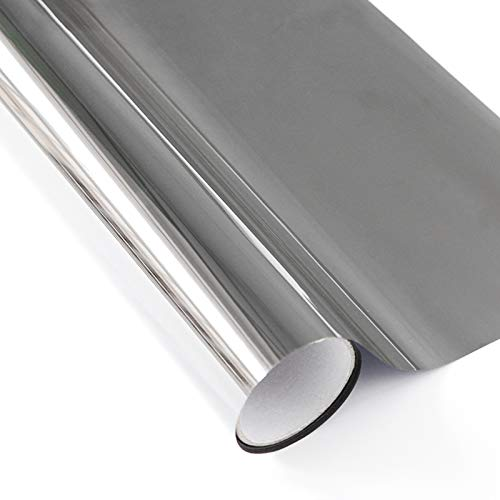 CMOISO Fensterfolie Sonnenschutz, Hitzeschutzfolie, 40CM x 5M Selbstklebender Anti-Ultraviolett-, Wärmeisolations- und sonnengeschützter Schutz der Privatsphäre Glasfarbfilm (Silber)