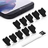 PortPlugs Dust Plugs (10 Pack) Rounded Design Compatible with iPhone 12, 11, X, 8, 7, Plus, Pro, Max and iPads, Includes Charging Port Cleaning Brush (Black)
