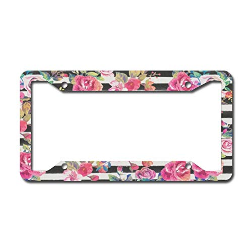 onepicebest License Plate Frame, Cute Spring Floral and Stripes Watercolor Pattern Car Licenses Plate Covers Holders Frames for Plates Universal American Auto
