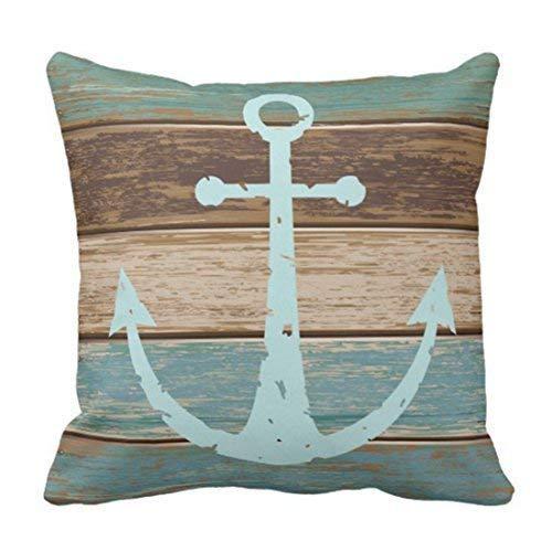N A - Funda de almohada para cojín de madera envejecida, diseño de ancla náutica, color turquesa