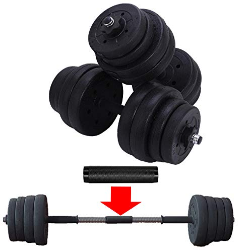 Adjustable 66LB Dumbbells Weights Set With Extra Metal Rod For Barbell, Home Gym Free Dumbbelles Weights Barbell Set For Body Bulding workout, Solid Weights Dumbbells Barbell Set With Non-Slip Handle
