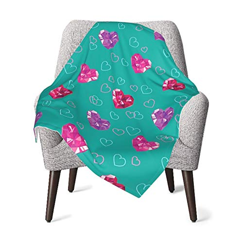 Teal Decor Crystal Hearts Gemstone Jewelry Valentines Day Celebrating Love Romantic Art Red Fuchsia Teal Baby Blanket, Baby Quilt, Baby Comfort Blanket, Baby Double Blanket
