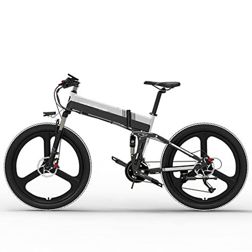 Bicicleta eléctrica para adultos Bicicleta eléctrica plegable de 20MPH 48V 14.5Ah 400W Bicicleta de montaña eléctrica plegable de 26 pulgadas ( Color : 10.4AH white , Number of speeds : 27 )