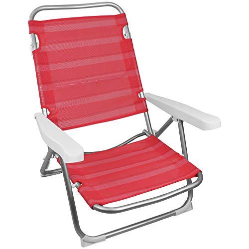TW24 Campingstuhl Alu klappbar mit Farbwahl Klappstuhl Garten Beach Stuhl Strandstuhl faltbar Anglerstuhl Gartenstuhl (Rot)