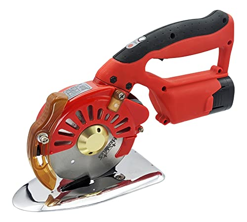 Hercules 5-Speed Electric Rotary Cutter for Cloth, Leather, Natural and Synthetic Fabrics – 4 Inch Single & Multi-Layer Round Knife Cutting Machine (Cordless DC)