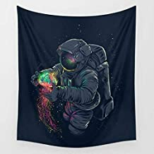 QCWN Fantasy Galaxy Planet Decor Tapestry, Cool Spaceman Astronaut Starry Art Print Wall Hanging Tapestry for Man & Home Decor. Multi 78x59Inc