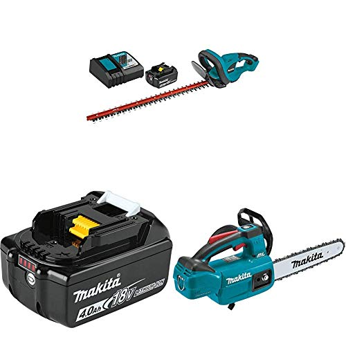 Makita XHU02M1 18V LXT Cordless 22 in. Hedge Trimmer Kit, 4.0Ah with XCU06Z 18-Volt LXT Brushless Cordless 10 in. Top Handle Chain Saw and BL1840B 18-Volt 4.0Ah LXT Lithium-Ion Battery